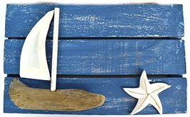 BEAUTIFUL UNIQUE SEA OCEAN WALL WOOD PLAQUE WITH BOAT AND SEA STAR TROPI... - $14.79