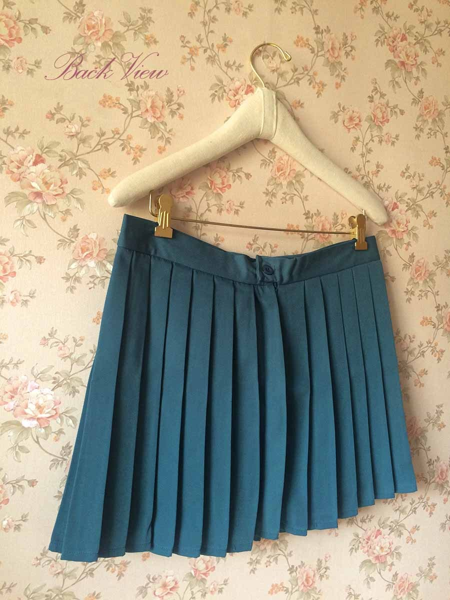 TEAL Green Pleated Mini Skirt Women Girl High Waist School Style Skirt Plus Size