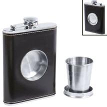 Black Wrap Alcohol Flask Built-in Collapsible Shot Glass Screw Cap Pocke... - €8,12 EUR