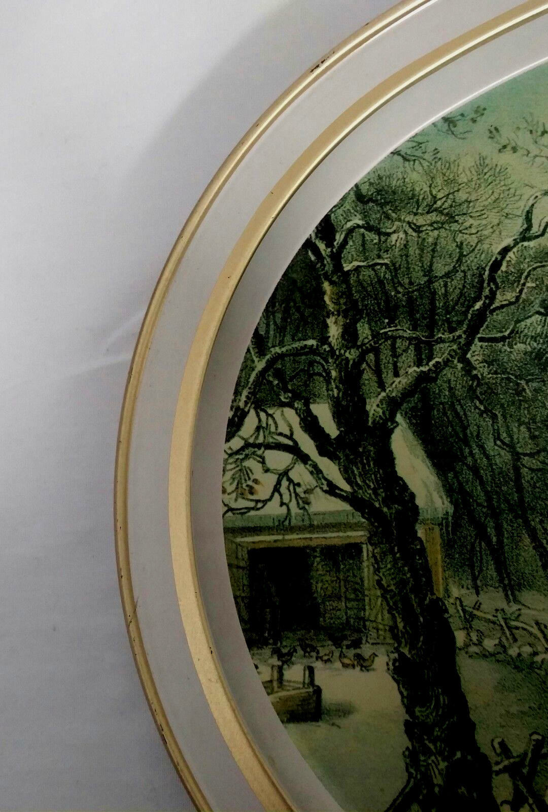 """Currier And Ives Oval Serving Tray """"The American Homestead"""" Summer Winter 1868"""