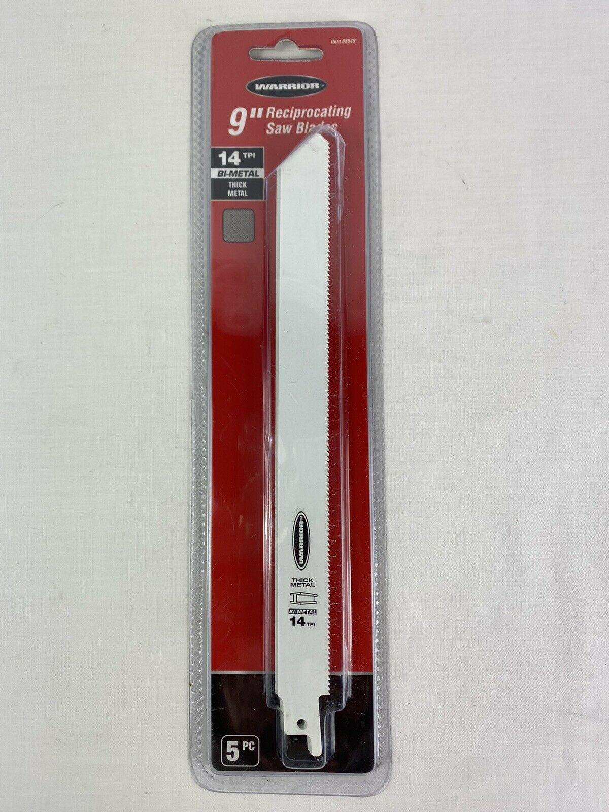 """WARRIOR Reciprocating Saw Blades 9"""" 14 TPI Metal Cutting Bi-Metal 5 Pk UNOPENED - $9.89"""