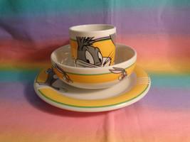 2000 Gibson Bugs Bunny Warner Bros Looney Tunes 3 Piece Set Plate Bowl ... - $29.68