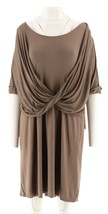 H Halston Knit Dress Twist Front Earth Green XL NEW A278929 - $40.57