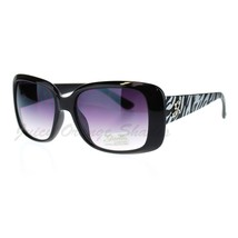 Womens Square Rectangle Frame Sunglasses Silver Zebra Print - $9.95