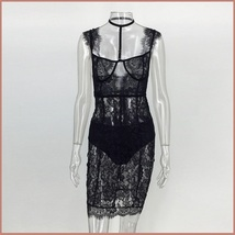 Elegant Evening Black Lace Party Club Mini Dress Includes Black Hip Panties  image 3