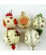Vintage Lee Wards Beaded Christmas Ornaments Completed Lot of 5 Off White - $39.59