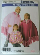 Simplicity Sewing Pattern 3981 No Sew Easy Sports Game Ponchos Soccer Mom Kids - $7.95