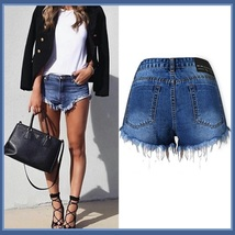 Cotton Blue Jean Denim Open Fly Hip Hot Pants Frayed Ripped Tasseled Shorts  - $58.95