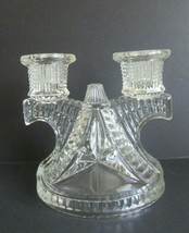 Vintage FEDERAL GLASS Windmill Wigwam ART DECO Double CANDLESTICK CANDLE... - $9.85