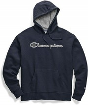 Champion Powerblend Applique Navy Pullover Hoodie Sweatshirt Adult Large - $44.54