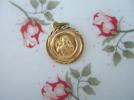 Catholic Medal ST. PATRICK Irish Saint Gold finish 14mm pendant - $11.29