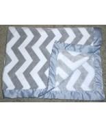 Carter's Baby Blanket Grey White Chevron Zig Zag Stripes Satin Boy Girl ... - $48.39