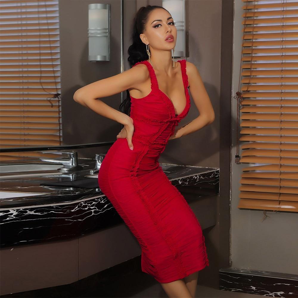 De new arrival mesh sexy red bandage dress 2020 women spaghetti strap midi bandage dress bodycon
