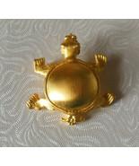 Vintage Designer Signed PMS Gold-tone Matte Turtle Brooch  - $16.82