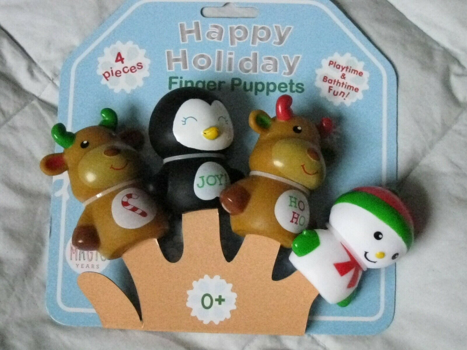 MAGIC YEARS~4 Finger Puppets~Holiday Christmas~Reindeer~Snowman~Penquin NEW - $12.86