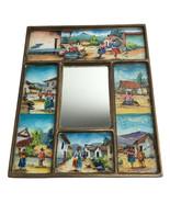 Vintage Peruvian Wall Art Village Scenes Reverse Painted Framed Glass & ... - $63.05