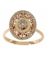 Solid 14K Rose Gold 0.25CT Real Natural Cluster Diamond Vintage Fine Ring - $1,435.50