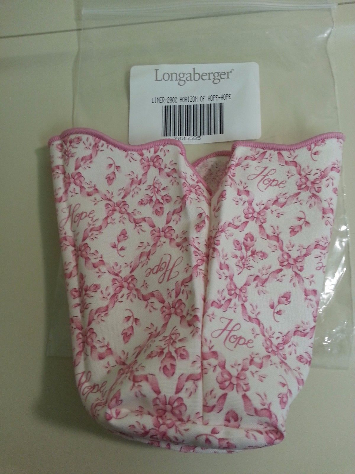 Longaberger 2002 Horizon of Hope Basket Liner Only New In Bag Pink Authentic