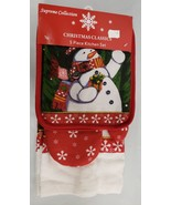 5 pc KITCHEN SET: 2 POT HOLDERS, OVEN MITT & 2 TOWELS, SNOWMAN by Supreme - $13.85