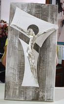 "HANDMADE BIG PANEL WALL CRUCIFIX, PAINTED WOOD, STYLIZED CHRIST, 23.6"" ITALY  image 2"
