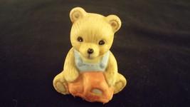 """Mini Teddy Bear Porcelain Figurine """"Overalls Toy Car Bear"""" HOMCO - $10.00"""
