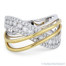 1.18ct Round Cut Diamond 18k Yellow & White Gold Right-Hand Overlap Fashion Ring - €2.696,49 EUR