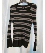 NWT Hooked Up Striped Sweater Black Silver Gray Sz M L XL  Org $34 - $3.99