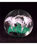 Vintage Green White Art Glass Flower Paperweight Paper Weight  - $12.95