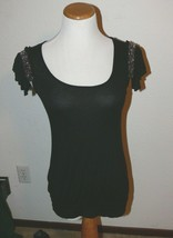 WHBM WHITE HOUSE BLACK MARKET Top BLACK Beaded SLEEVE SIze XXS dg - $10.00