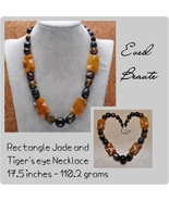 30 MM RectangleJade and Tiger's Eye Gemstone Necklace - New! - $30.00