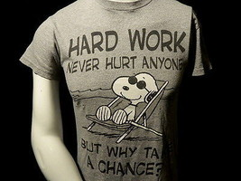 Peanuts Snoopy Small T Shirt Hard Work Never Hurt Anyone Comic Book Dog ... - $19.80