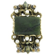 Elongated Jadine with Seed Pearls Ring - $33.66