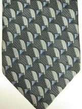 NEW Ermenegildo Zegna Gray With Silver and Light Blue Silk Tie Italy - $67.08