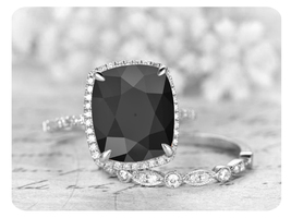 9mm Cushion Cut Black Diamond 14k White Gold Over Engagement Bridal Ring Set - $119.99