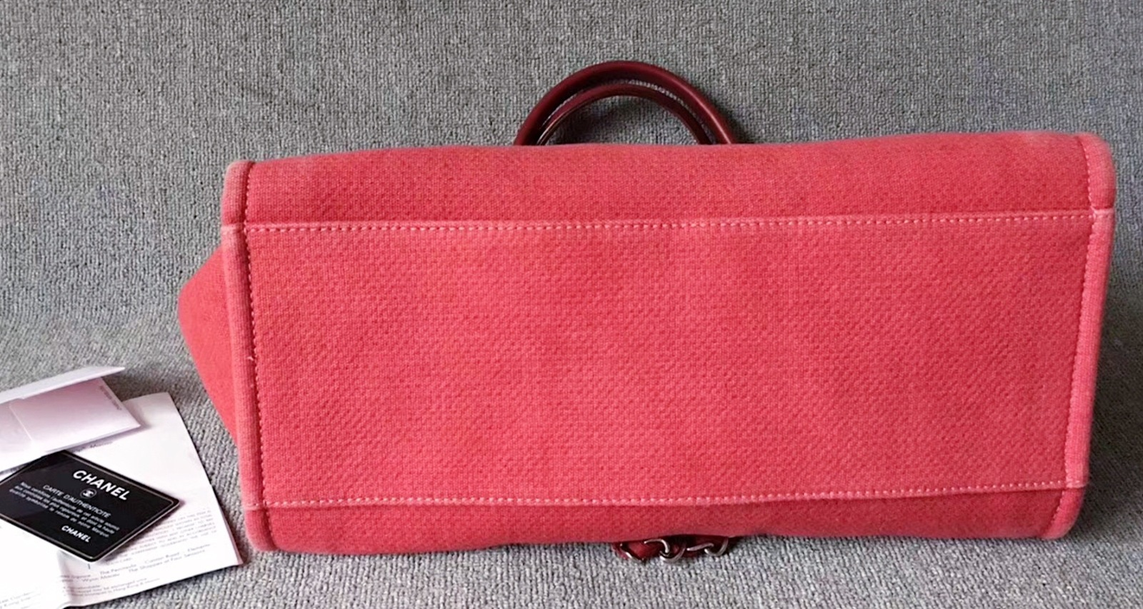 030dee83de2b AUTHENTIC CHANEL DARK PINK RED CANVAS LARGE DEAUVILLE 2 WAY TOTE BAG RECEIPT