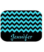 PERSONALIZED MOUSE PAD TEAL BLUE BLACK CHEVRON - $12.72