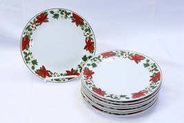 """Gibson Poinsettia Holiday Xmas Salad Plates 7.5"""" Lot of 8 - $48.99"""