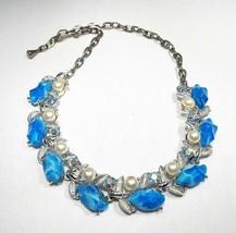 Vintage Aurora Borealis Faux Pearl & Blue Bead Choker Necklace C2574 - $19.26