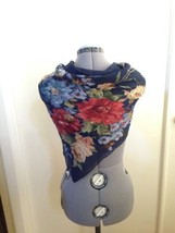 Echo Beautiful Navy Semi Sheer Scarf with Multi Colored Flowers Wrap 35 ... - $9.75