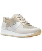 Michael Kors Women's Allie Trainer Glitter Chain Mesh Sneakers Shoes White Gold