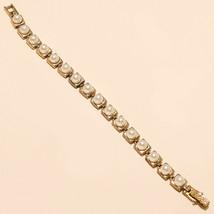 Fresh Water Pearl Tennis Bracelet 925 Sterling Silver Turkish Two Tone J... - $26.65