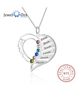 Mom's Gift Name Necklace Personalized Birthstone Engrave Name 925 Sterli... - £20.81 GBP