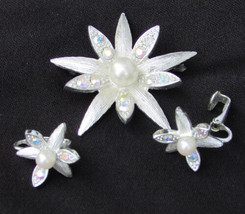 Emmons star flower pin earring set silver tone faux pearls rhinestones - $8.42