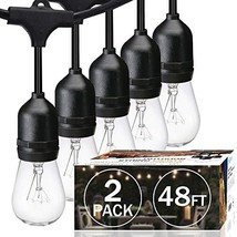 2-Pack SUNTHIN 48ft String of Lights with 15 x E26 Sockets and Hanging L... - $67.46