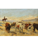 The Roundup 30x44 Art Print Elling William Gollings Western Cowboy - $118.04