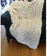 "Natural Chunky Pehuen Wool Afghan Blanket Throw Large 62"" x 80"" Very Soft - $296.99"