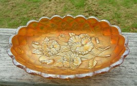 Vintage Imperial Glass Marigold Pickle Dish Pansy Pattern - $11.88