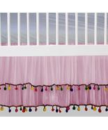 Pink Chiffon Pom Pom Layered Ruffled Crib Skirt / Mini Crib Skirt - $44.99+