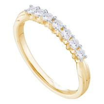 14kt Yellow Gold Womens Round Diamond 7-stone Band Ring 1/3 Cttw - £357.53 GBP