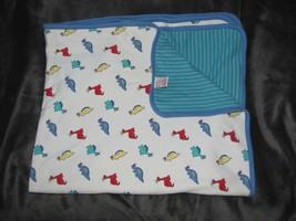 Vintage Gymboree Baby Boy Blanket Blue Green White Stripe Dinosaur Crown... - $98.50